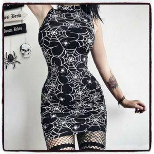 Spiderweb Bodycon Halloween Dress Goth Occult
